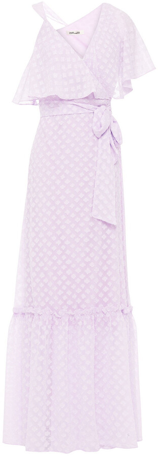 Diane von Furstenberg Ruffled Fil Coupe Chiffon Maxi Wrap Dress
