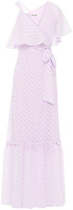 Diane von Furstenberg Ruffled Fil Coupe Chiffon Maxi Wrap Dress