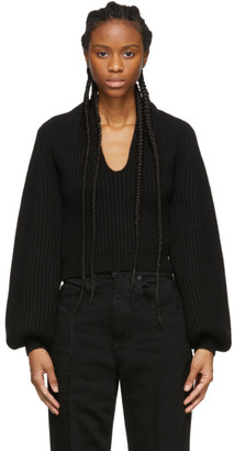 Alexander Wang Black Wool Draped Neck Sweater
