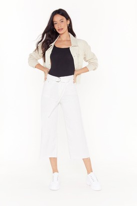 Nasty Gal Womens Pass Me the Riding Crop Wide-Leg Jeans - White - L