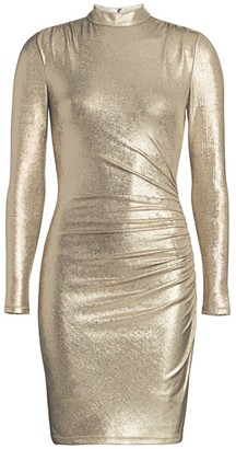 Alice + Olivia Hilary Ruched Metallic Bodycon Dress