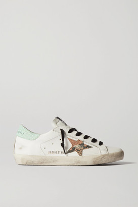 Golden Goose Superstar Distressed Glittered Leather Sneakers - White
