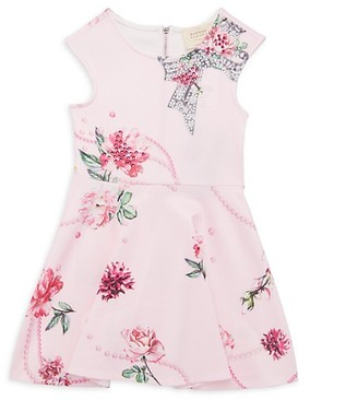 Hannah Banana Little Girl's Embellished Floral Flare Dress