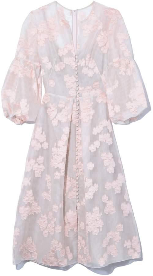 Lela Rose Full Sleeve Button Front Dress in Blush