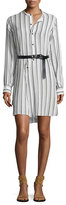 Isabel Marant Long-Sleeve Henley Belted Shirtdress, White/Black