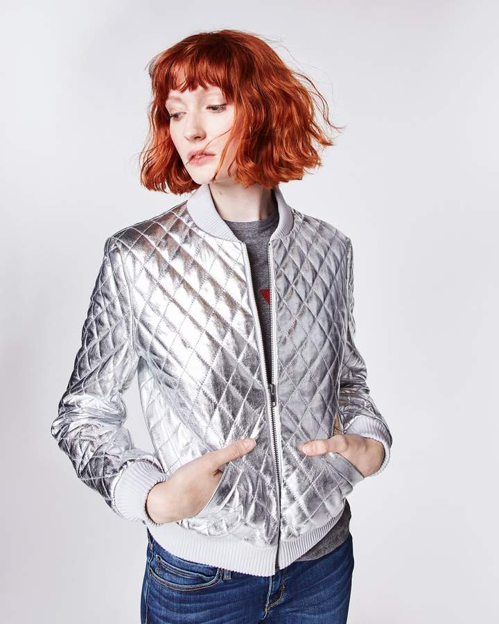 Nicole Miller Quilted Leather Bomber Jacket