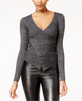 Material Girl Juniors' Wrap-Front Rib-Knit Sweater, Only at Macy's