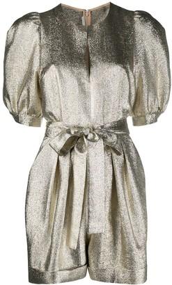 Stella McCartney Metallic Puff-Sleeve Belted Playsuit