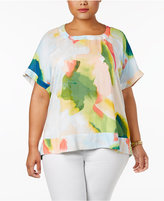 Melissa McCarthy Trendy Plus Size Watercolor-Print Blouse