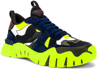 Valentino Low Top Sneaker in Black & Lime & Olive Green | FWRD