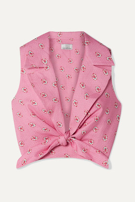 Miguelina Jill Cropped Tie-front Printed Linen Top - Pink