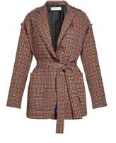 Golden Goose Deluxe Brand Agnese waist-tie checked wool-blend jacket
