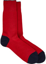 Barneys New York MEN'S MIXED-KNIT MID-CALF SOCKS-RED