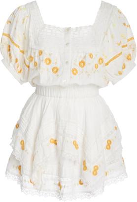 LoveShackFancy Bentley Embroidered Cotton-Voile Mini Dress