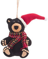 Lord & Taylor Modern Cabin Felted Bear with Santa Hat Hanging Ornament