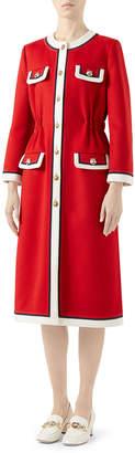 Gucci Long-Sleeve Contrast Tiger Head Midi Coat