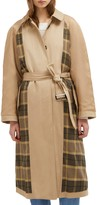 French Connection Anais Plaid Panel Trench Coat