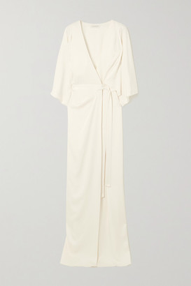 Halston Draped Satin Wrap Gown - Off-white