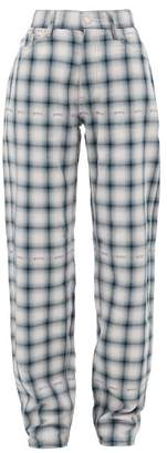 Eytys Benz High Rise Tartan Cotton Trousers - Womens - Pink Multi