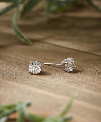 Mondevio Women's Earrings silver/white/colorless - White Sapphire & Topaz Crown Stud Earrings