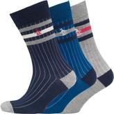 Original Penguin Mens Three Pack Socks Grey/Dress Blue/Snorkel Blue