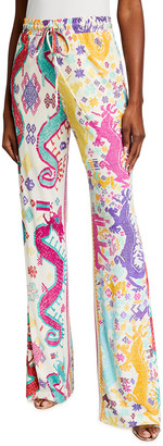 Etro Bright Dragon Jersey Pull-On Pants