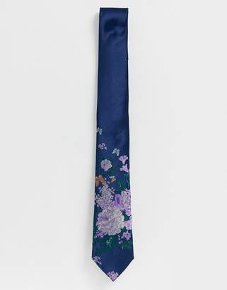 Twisted Tailor tie with floral butterfly print in blue