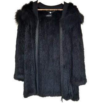 Twin-Set Twin Set Black Rabbit Coat for Women