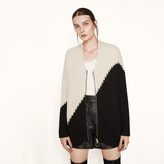 Maje Loose two-tone knit cardigan