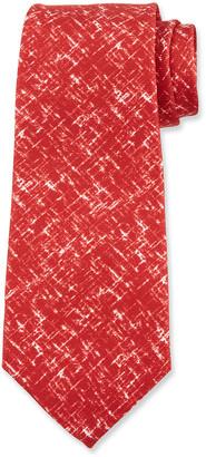 Kiton Men's Scratch-Print Silk Tie, Red
