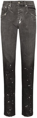 Purple Brand Paint Splatter-Effect Jeans