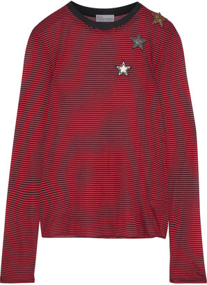 RED Valentino Appliqued Striped Modal-jersey Top
