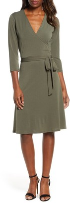 Leota Print 3/4 Sleeve Faux Wrap Dress