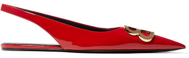 Balenciaga Knife Logo-embellished Patent-leather Point-toe Flats - Red