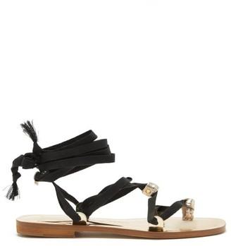 Álvaro González X Thierry Colson Tallula Metallic-leather Sandals - Black Gold