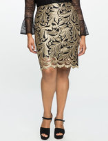 ELOQUII Plus Size Embroidered Metallic Pencil Skirt