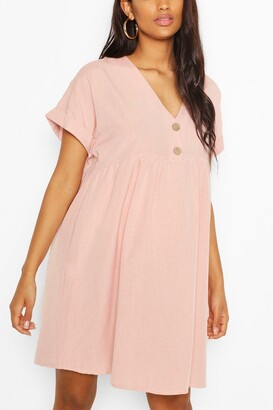 boohoo Maternity Button Front Linen Smock Dress