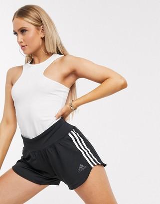 adidas Training three stripe woven shorts in black