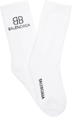 Balenciaga BB Intarsia-Knit Socks