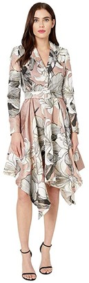 Badgley Mischka Printed Handkerchief Suit Dress (Dusty Mauve) Women's Dress