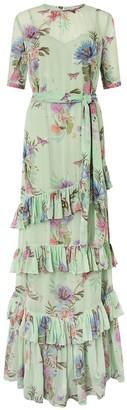 Monsoon Aesha Tiered Print Maxi Dress - Green