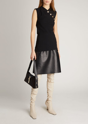 Proenza Schouler Crepe and Faux-Leather Sleeveless Top
