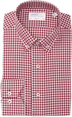 Lorenzo Uomo Mini Textured Gingham Trim Fit Dress Shirt