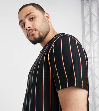 New Look PLUS vertical stripe t-shirt in black