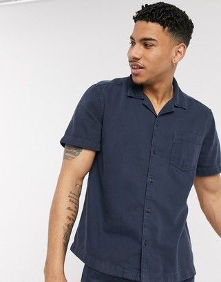 Esprit shirt with revere collar in Navy