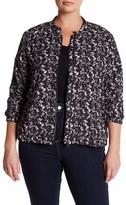 Sejour Floral Lace Bomber Jacket (Plus Size)