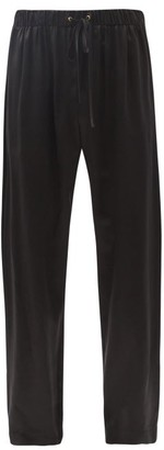 Edward Crutchley Drawstring-waist Silk-satin Trousers - Black