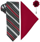 Jf J.Ferrar JF Fashion Stripe Tie, Pocket Square and Lapel Pin Set