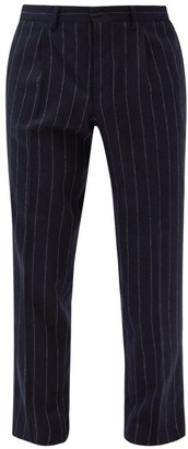 The Gigi - Tapered Pinstripe Wool-blend Suit Trousers - Navy Multi
