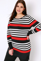 Yours Clothing Black, White & Red Stripe Jumper With Button Cuffs